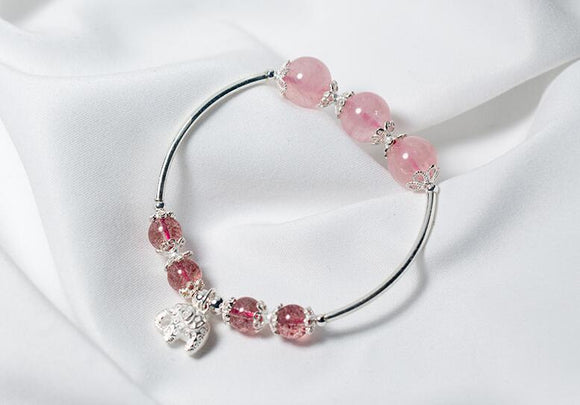 100% Real. 925 Sterling Silver Jewelry Natural Rose Strawberry Quartz Stone &Lucky Elephant flower Cuff  Bracelet GTLS664