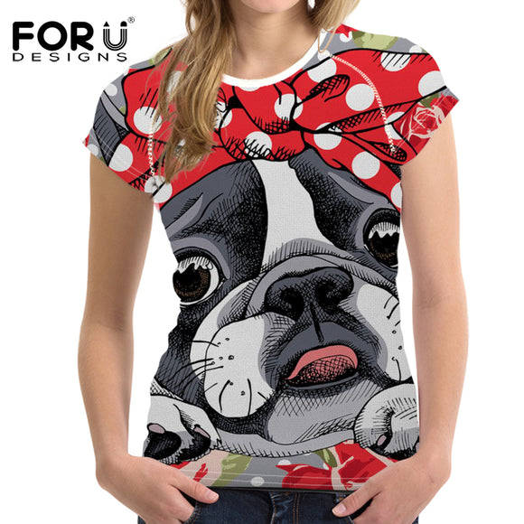 FORUDESIGNS Kawaii t-shirt Women tshirts Boston Terrier 3D Printing T shirt Ladies Clothes Short Sleeve Tops Tee Shirts Casual