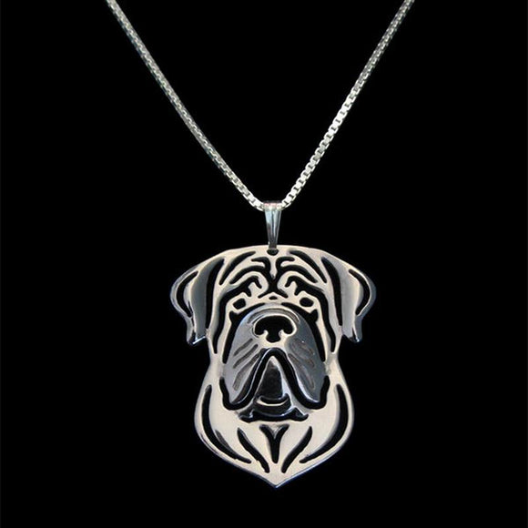 2018 Factory Supply Women Jewelry Dog Necklaces Lovers Silver English Mastiff Pendant Necklaces Drop Shipping