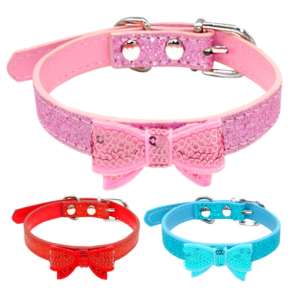 Bling Sequins Puppy Cat Collar Small Pet Chihuahua Collars Glitter Bowknot Necklace Adjustable For Small Dogs Cats Beagle Yorkie