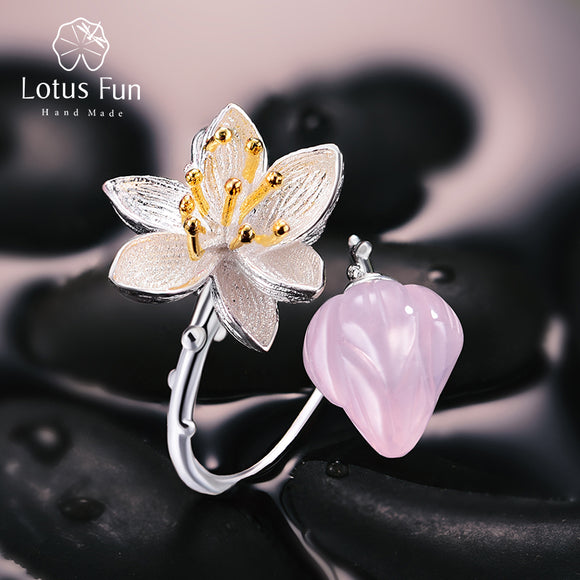 Lotus Fun Real 925 Sterling Silver Natural Rose Quartz Handmade Fine Jewelry Flower Ring Lotus Whispers Rings for Women Bijoux