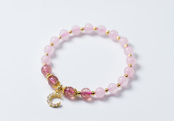 100% Real. 925 Sterling Silver Fine Jewelry Natural Rose Quartz Stone & Strawberry Quartz moon and Golden Beads Bracelet GTLS672