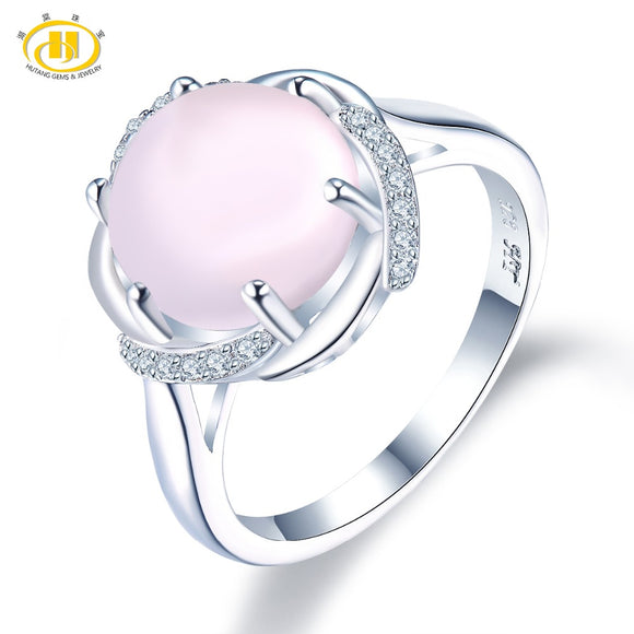 Hutang Rose Quartz Engagement Ring Solid 925 Sterling Natural Gemstone Silver Fine Fashion Stone Jewelry For Female's Gift New