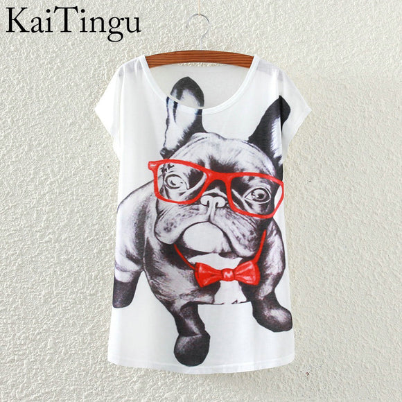 KaiTingu 2016 Brand New Fashion Spring Summer Harajuku Short Sleeve T Shirt Women Tops Glasses Dog Printed T-shirt White Clothes