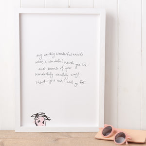 'Weirdo' Handwritten Poem Print