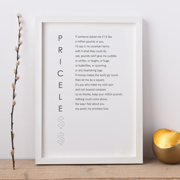 'Priceless' Poem Print
