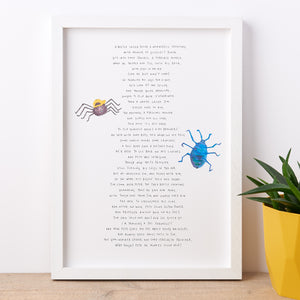Beetle Nonsense Poem Print