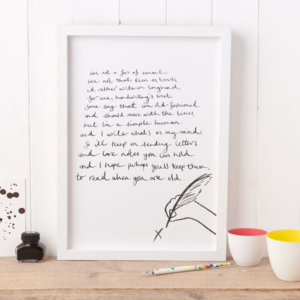 'Old Fashioned' Poem Print