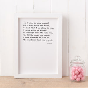 'Sweet Somethings' Poem Print