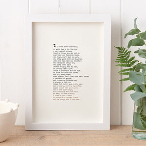 Original Foiled and Framed Friendship Poem