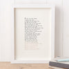 Original Foiled and Framed Anniversary Poem