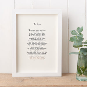Original Foiled and Framed Memorial Poem