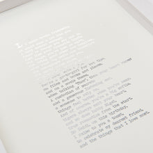 Load image into Gallery viewer, Original Foiled and Framed Friendship Poem