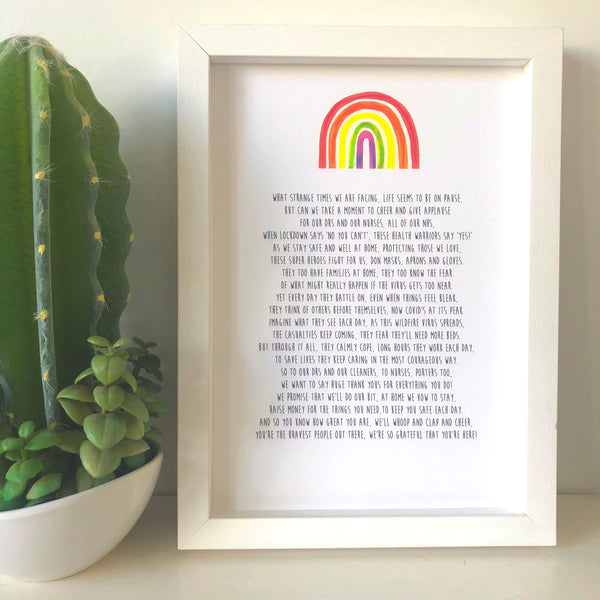 'Thank You NHS' Poem Print