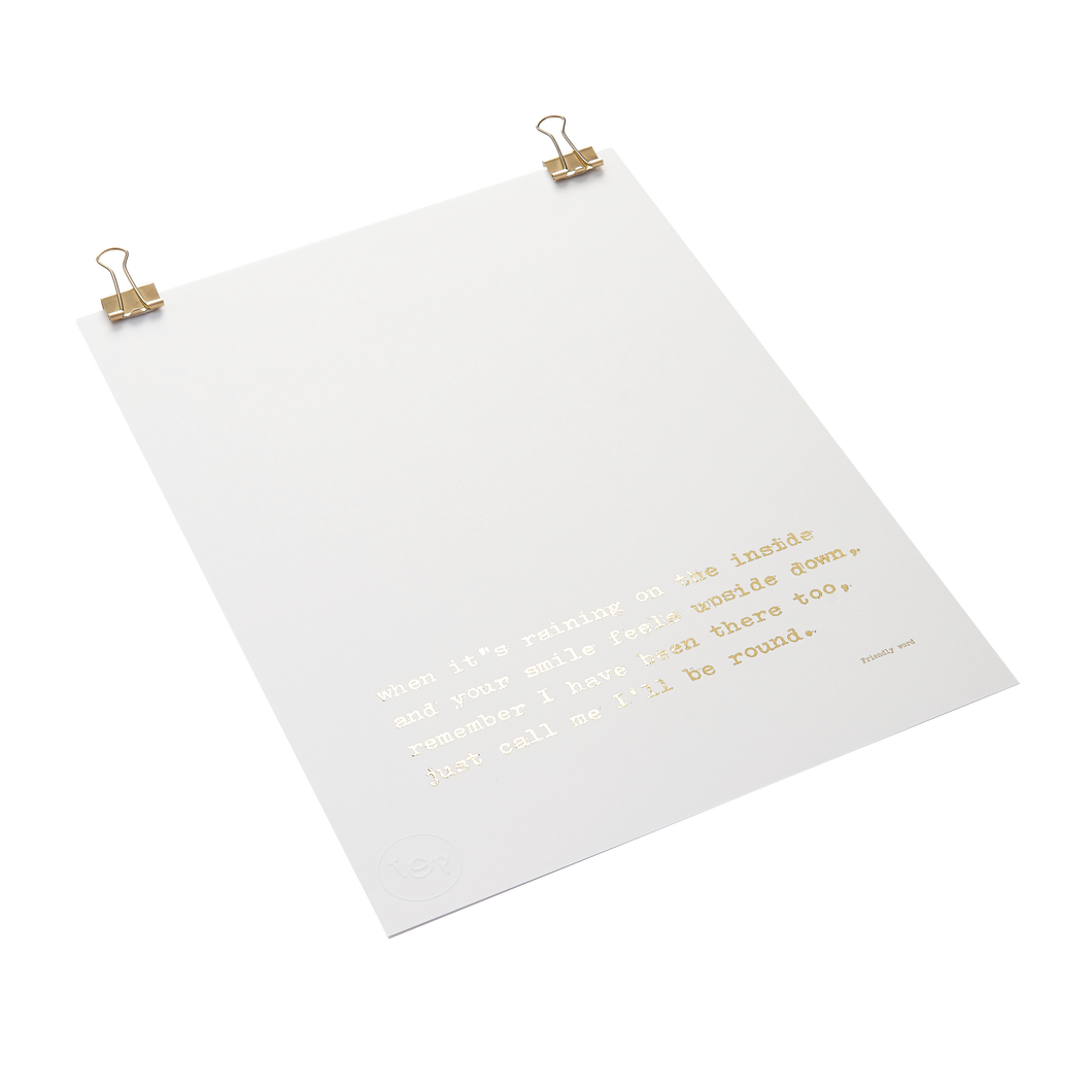 Friendly Word Foiled Poem Print