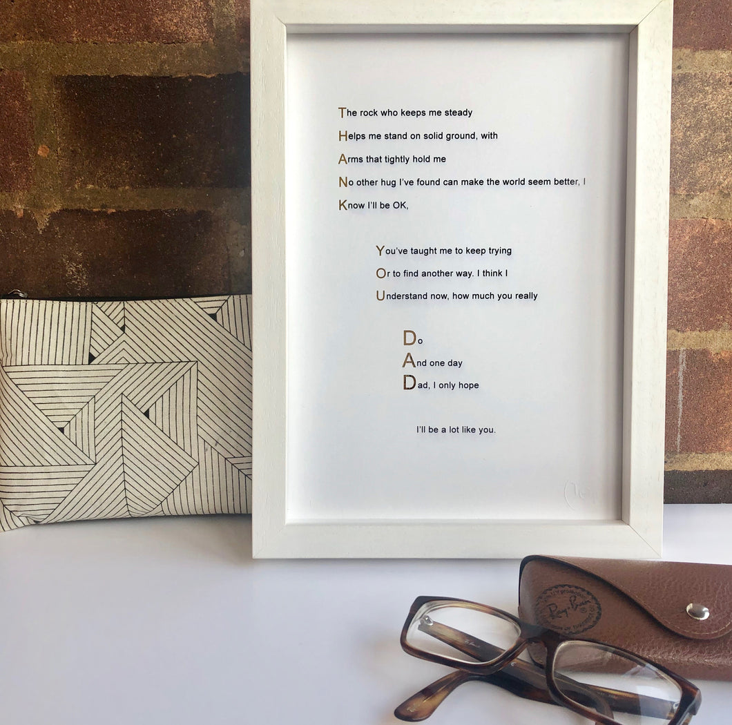 'Thank You Dad' Foiled Poem Print