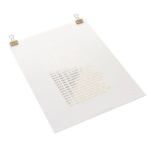Home poem - foiled print