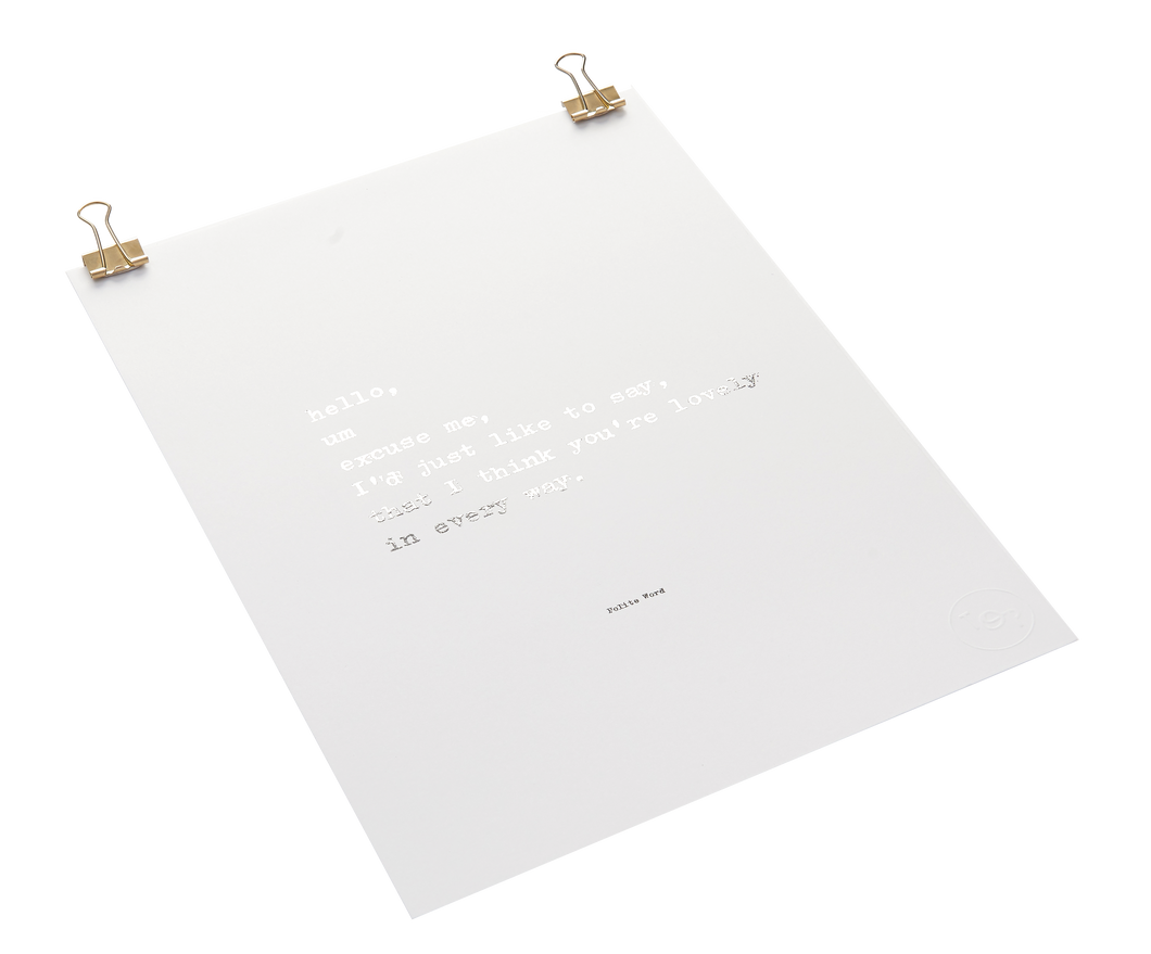 Polite Word Foiled Poem Print