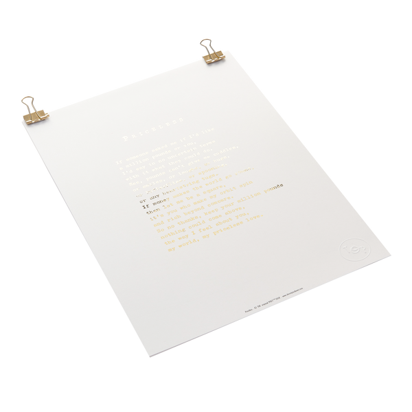 'Priceless' Foiled Poem Print