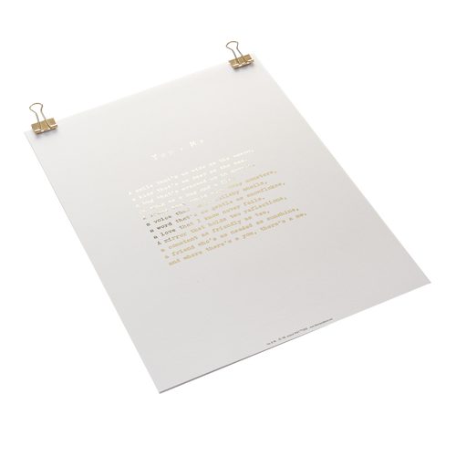 'You & Me' Foiled Poem Print