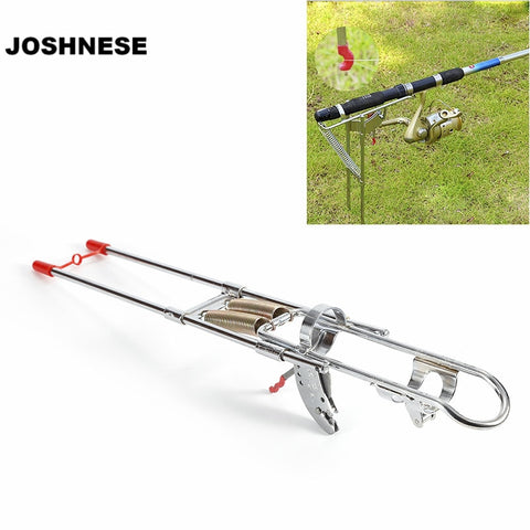 Automatic Adjustable Stainless Steel Double Spring Tip-Up Hook Fishing Rod