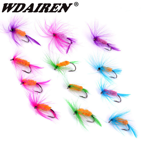 12pcs/Lot Various Dry Fly Trout Salmon Floating Insect Dry Flies Fishing Lure