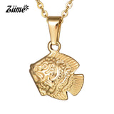 Ziime 2018 New Gold Color Stainless Steel Tropical Fish Pendant Necklace Women