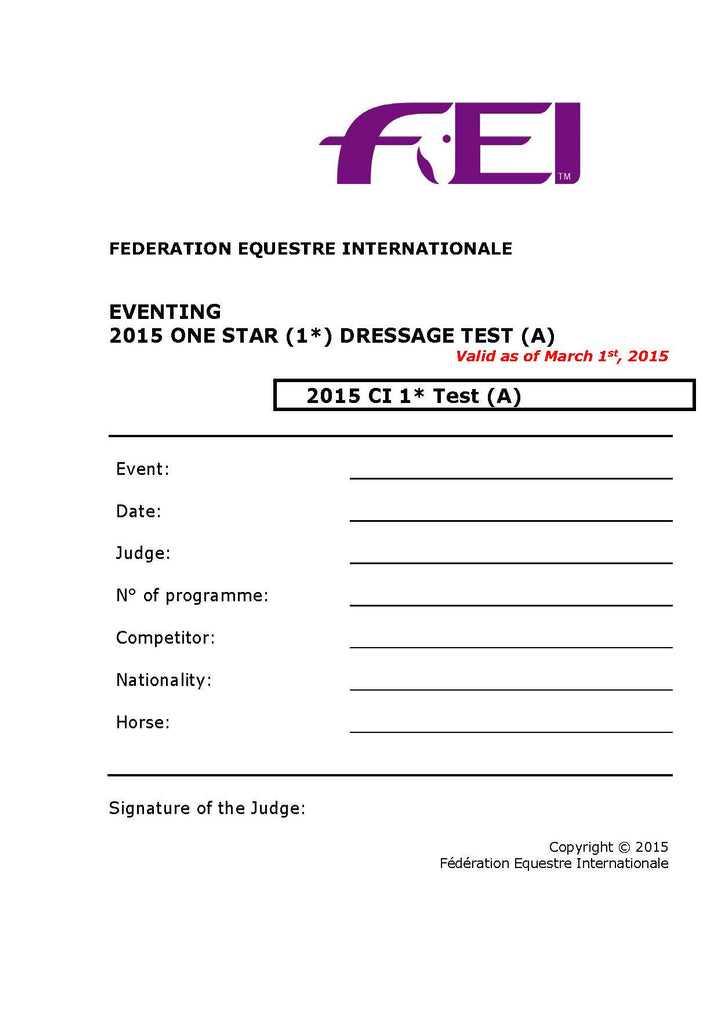 2015/2017 FEI Dressage Tests
