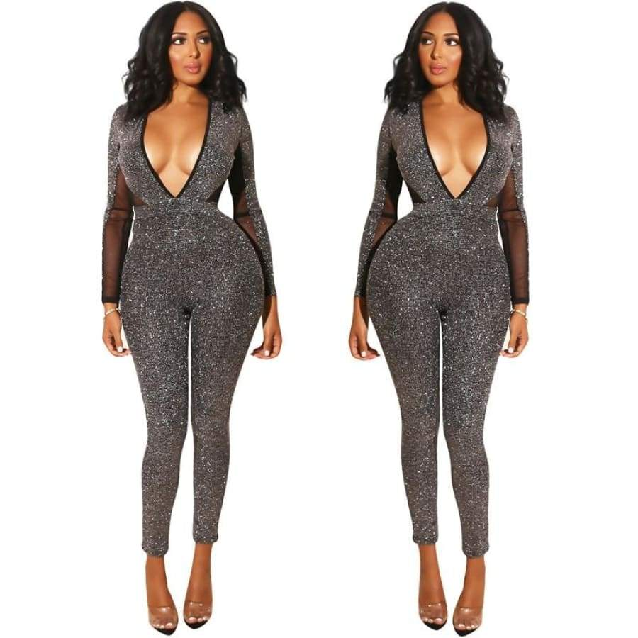 094ac8cfda2c Deep v glitter jumpsuit – Thee glam shop