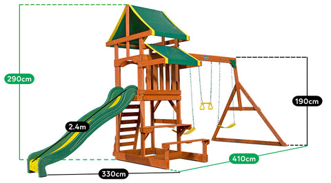 Backyard Discovery Tucson Kids Wooden Play Centre With Swings And Slide