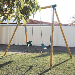 Amber 3 Double Belt Timber Swing Set