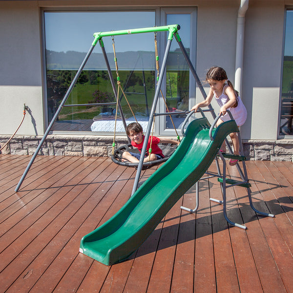 Cellar Nest Swing Set with Slippery Slide