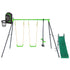 Hurley 2 Metal Swing Set with Slippery Slide & Hoop