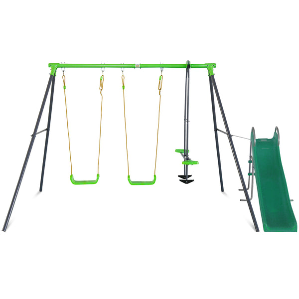 Hurley 2 Metal Swing Set with Slippery Slide