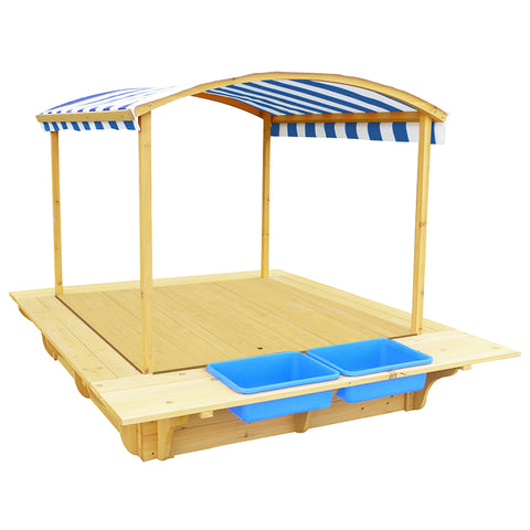 Playfort Sandpit (Blue Canopy) with Wooden Cover