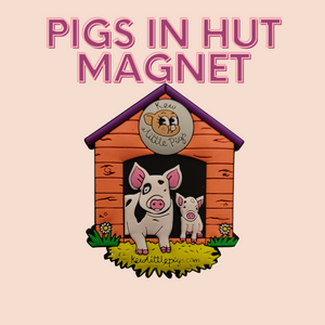 Pigs in Hut Rubber Magnet