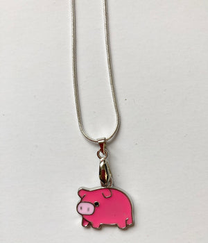 Pink Pig Charm on 925 Stirling Silver Plated Snake Chain