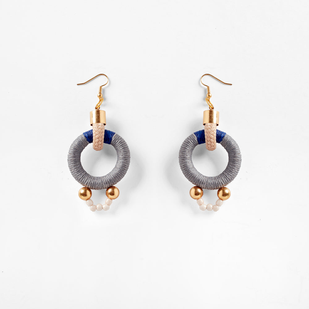 Alpha Earrings | Grey Blue