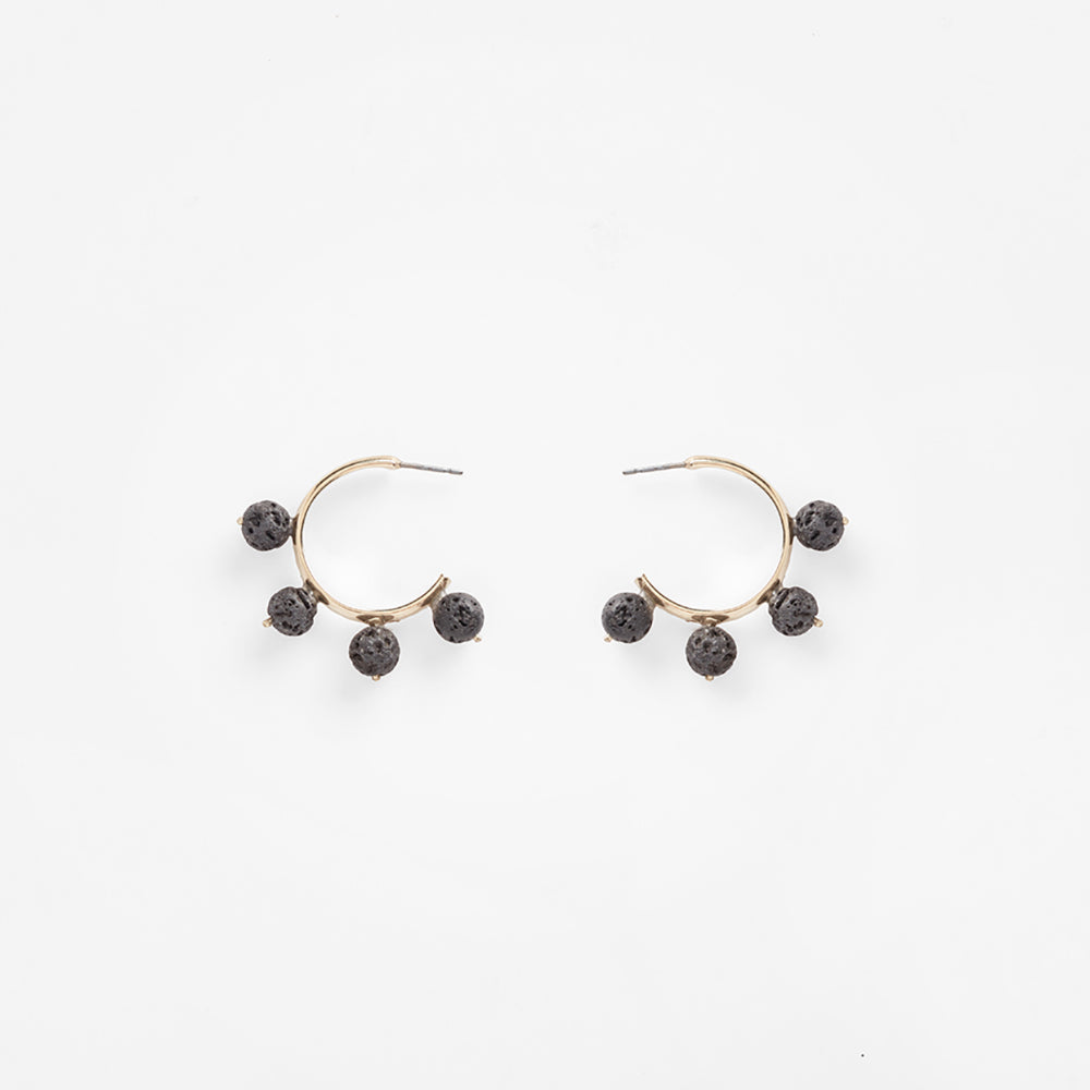 Garland Hoop Earrings Lava | Black