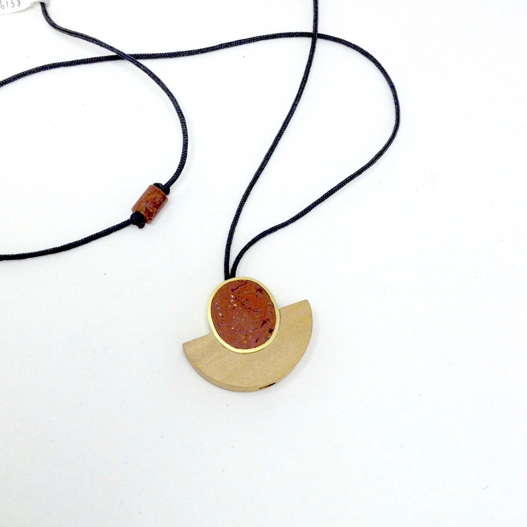 Arch Wood & Clay Pendant