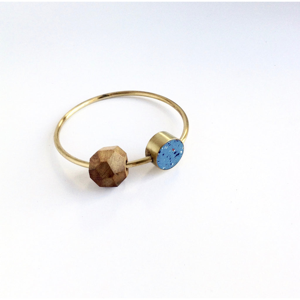 Brass & Clay Bead Bangle