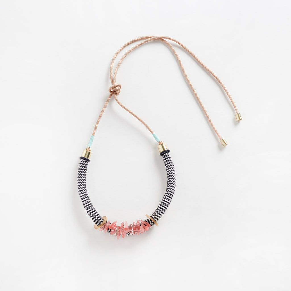 Egun Rose Necklace | White Zig Zag