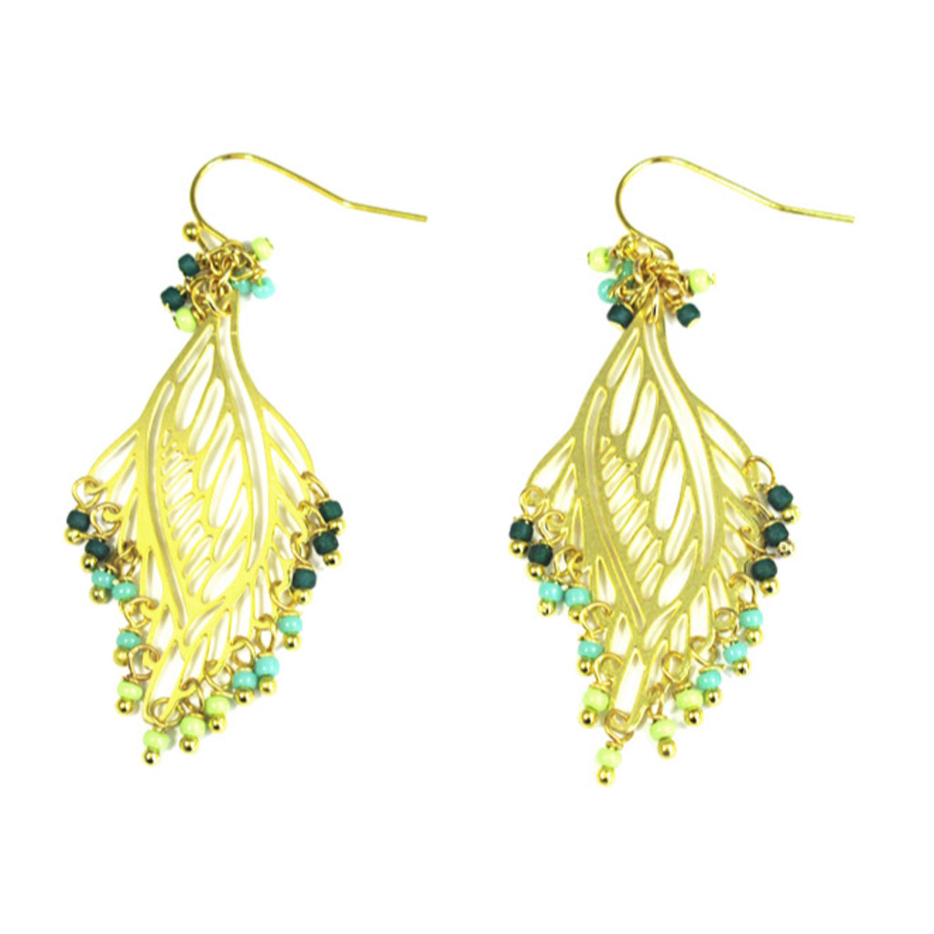 Green Beaded Filigree Leaf Earrings