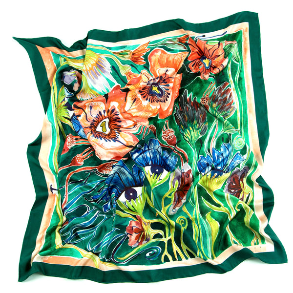 Green Midsummer Night's Dream Silk Scarf