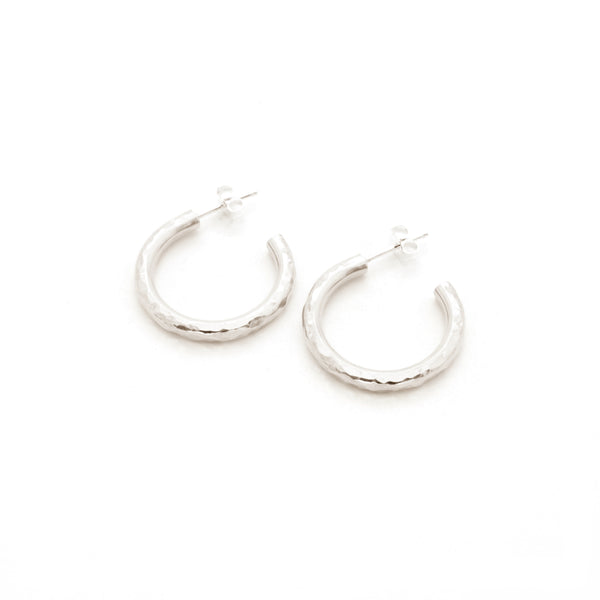Hammered Hoop Earrings | Silver