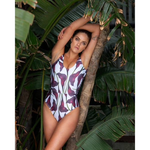 Zoe Full Piece Swimsuit | Arum Lily/White