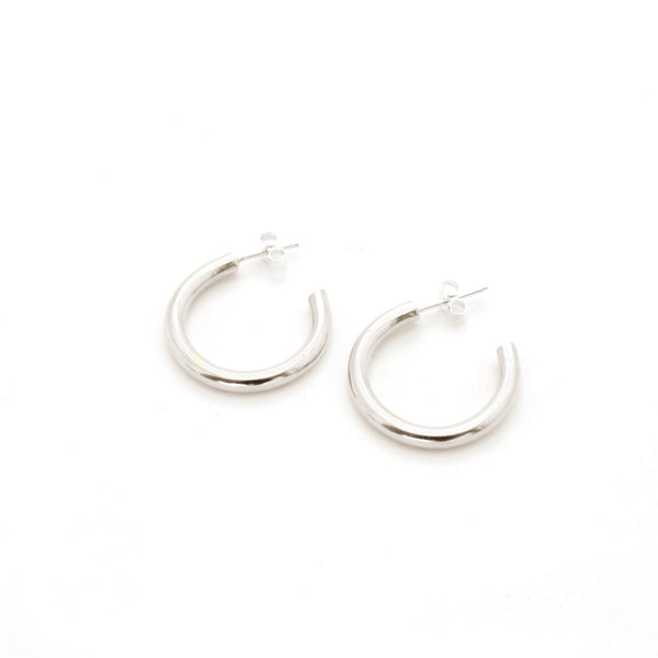 Plain Hoop Earrings | Silver