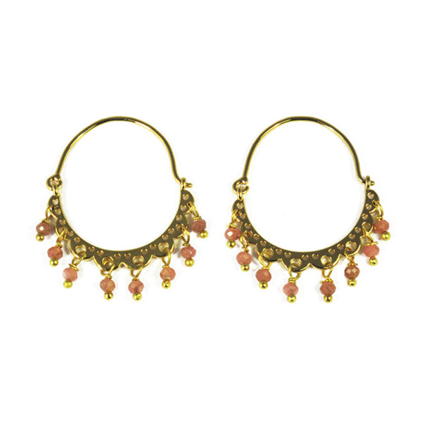 Gold Lace Hoops With Rhodochrosite Rondelles