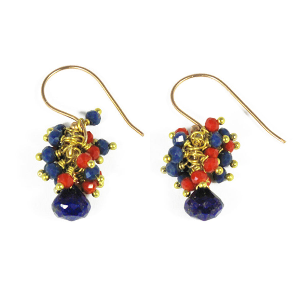 Beaded Cluster Earrings With Lapis Lazuli