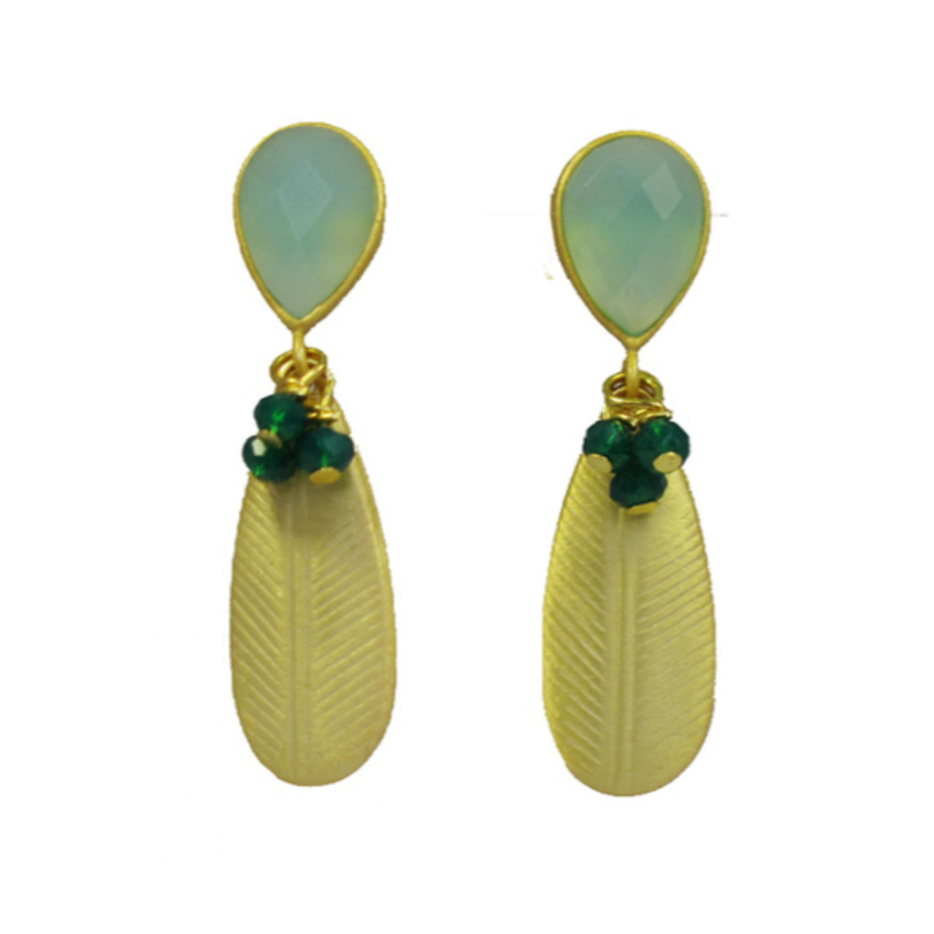 Chalcedony Leaf Earrings With Green Onyx Rondelles